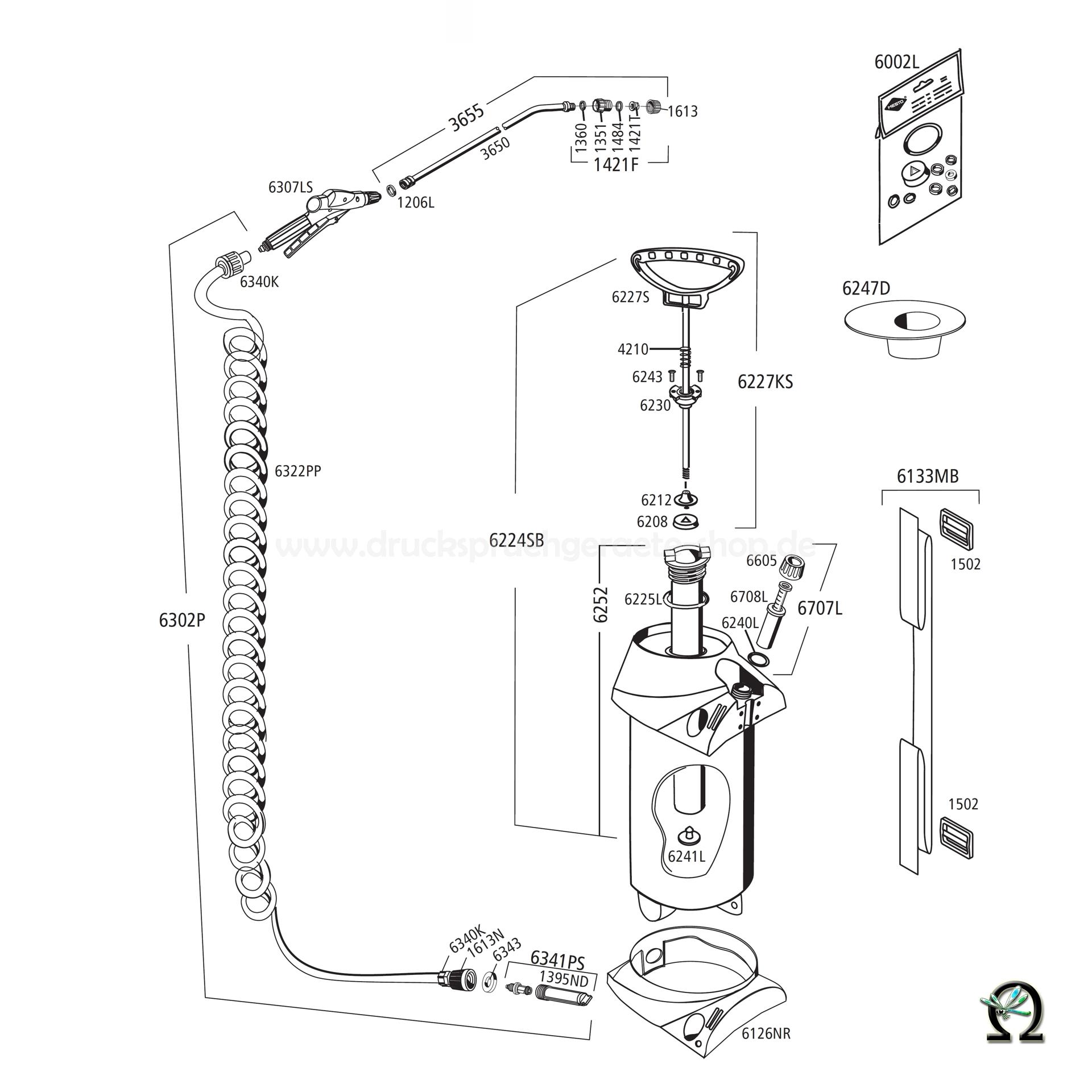 MESTO Drucksprühgerät 3275P PROFI PLUS Zeichnung der Einzelteile