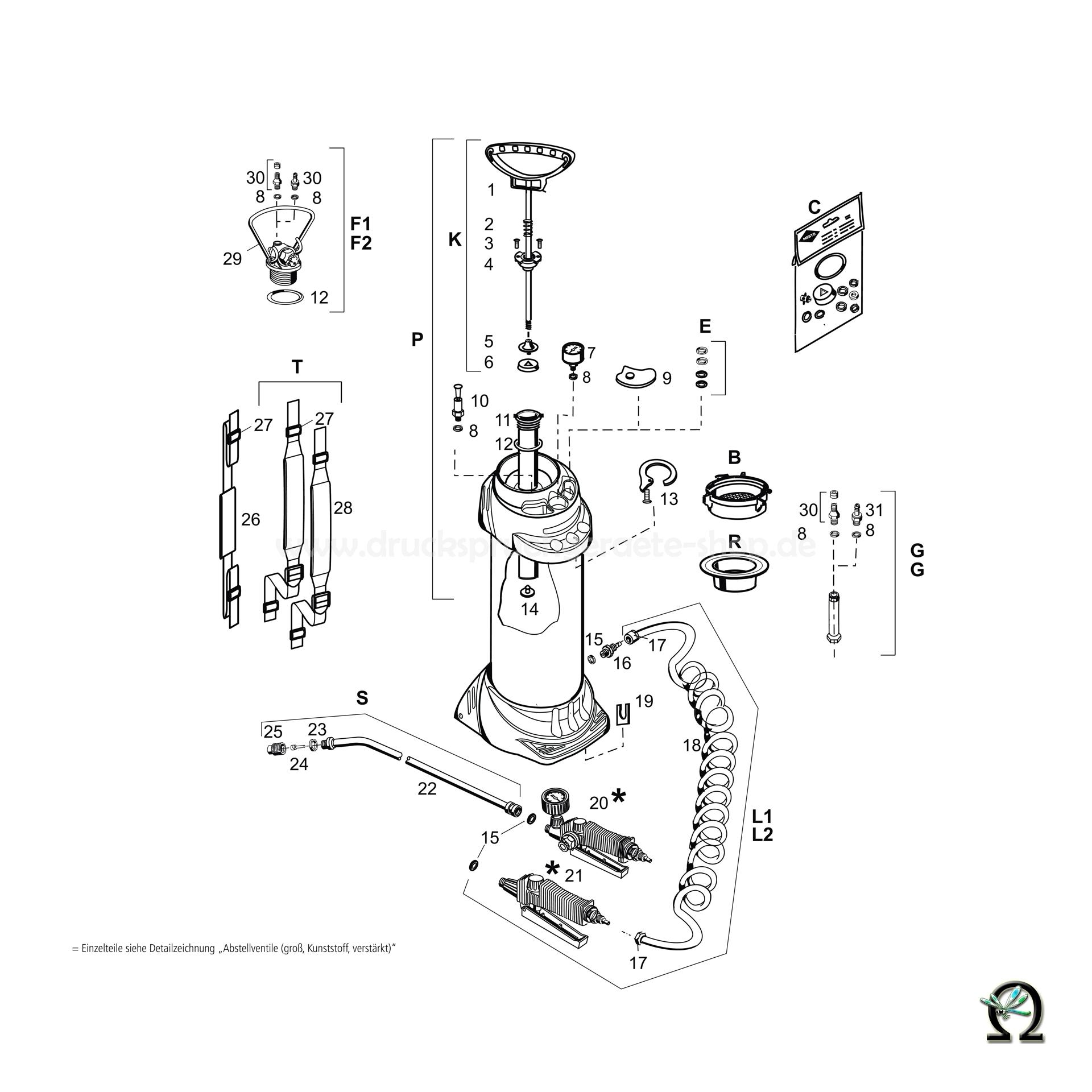 Mesto Hochdrucksprühgerät 3615 INOX - 10 Liter, Zeichnung der Einzelteile