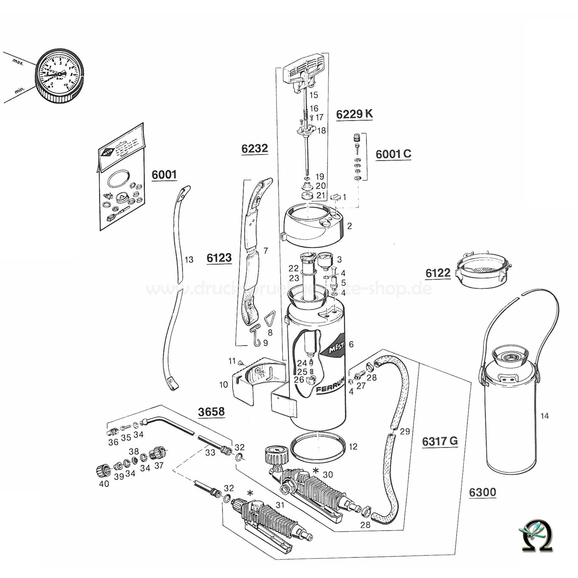 MESTO Hochdrucksprühgerät 3589 CERES, Zeichnung der Einzelteile