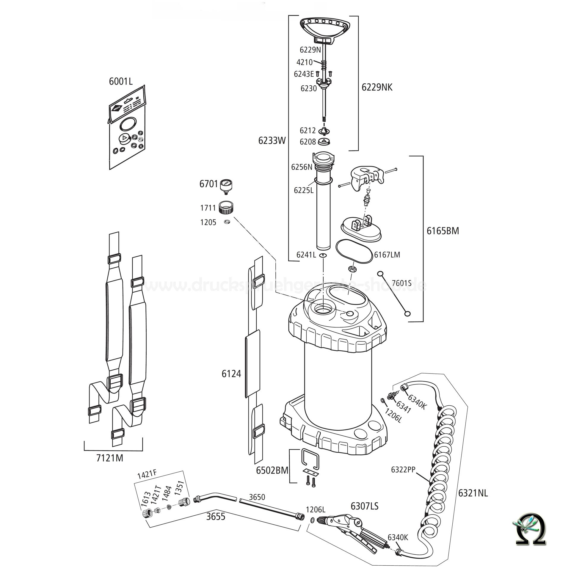 MESTO Edelstahl-Hochdrucksprühgerät 3618P mit FPM-Dichtungen - 10 Liter, Zeichnung der Einzelteile