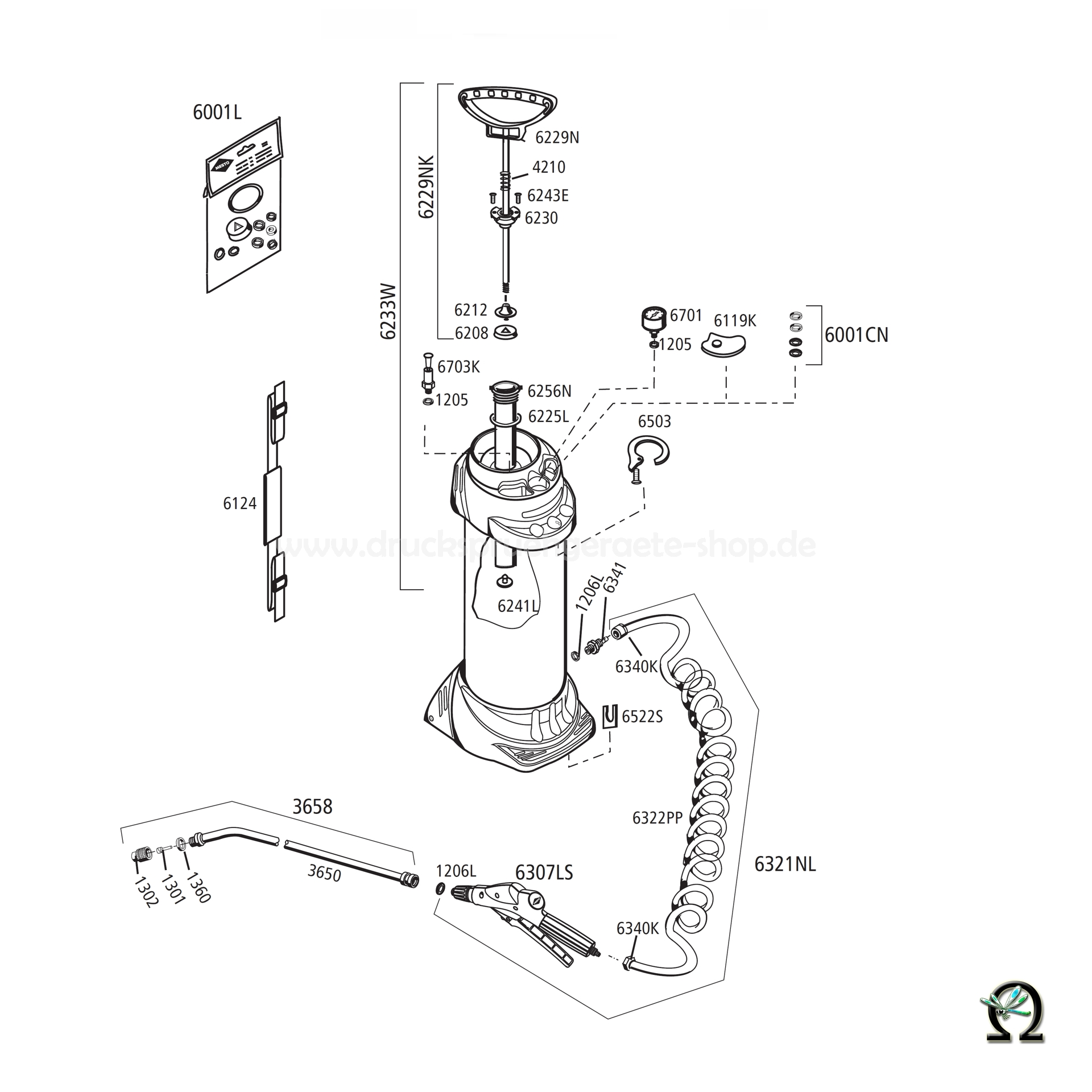 Mesto Hochdrucksprühgerät INOX 3595 - 5 Liter, Zeichnung der Einzelteile