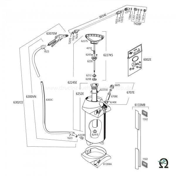 MESTO 3275PE CLEANER, Explosionszeichnung mit Ersatzteilnummern, MESTO Zylinder 6252E Kunststoff mit EPDM-Dichtungen