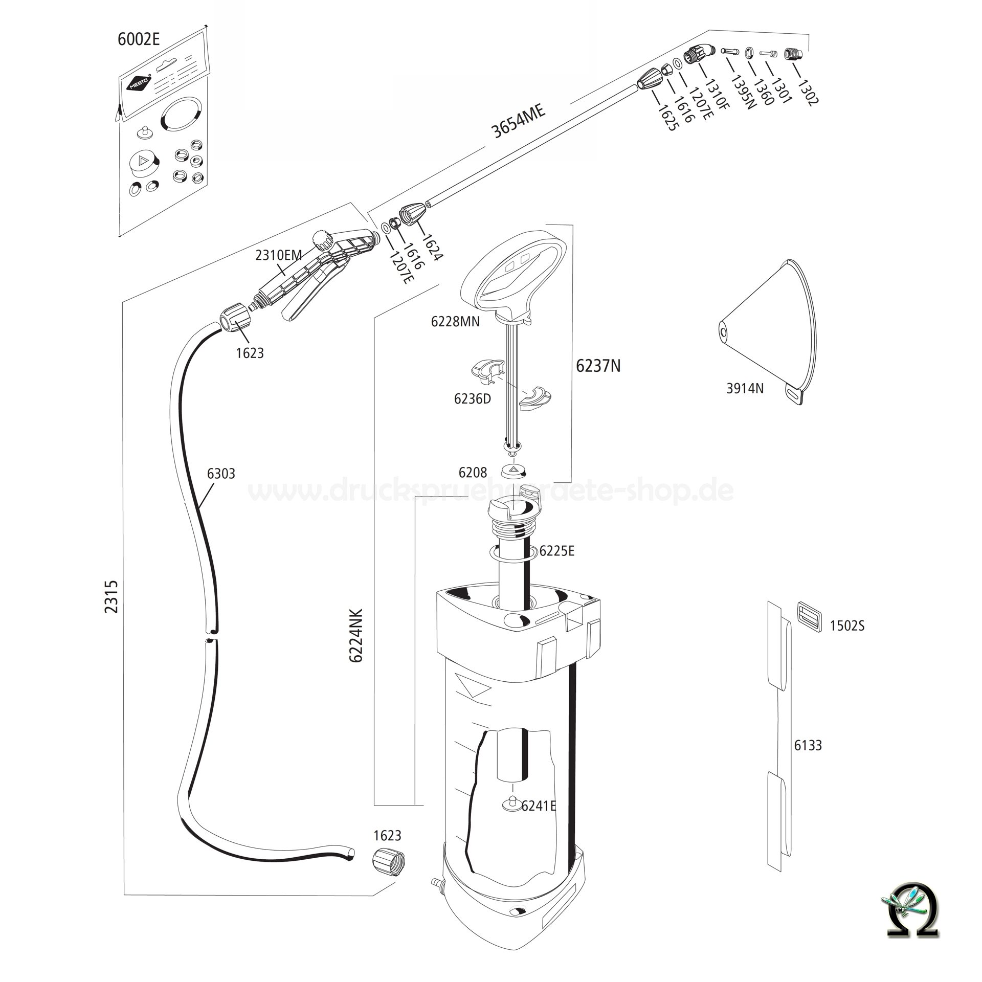 MESTO Drucksprühgerät 3232EM Zeichnung der Einzelteile