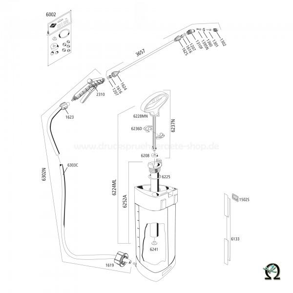 MESTO 3232, Explosionszeichnung mit Ersatzteilnummern, MESTO Ausziehbare Mutter 1619