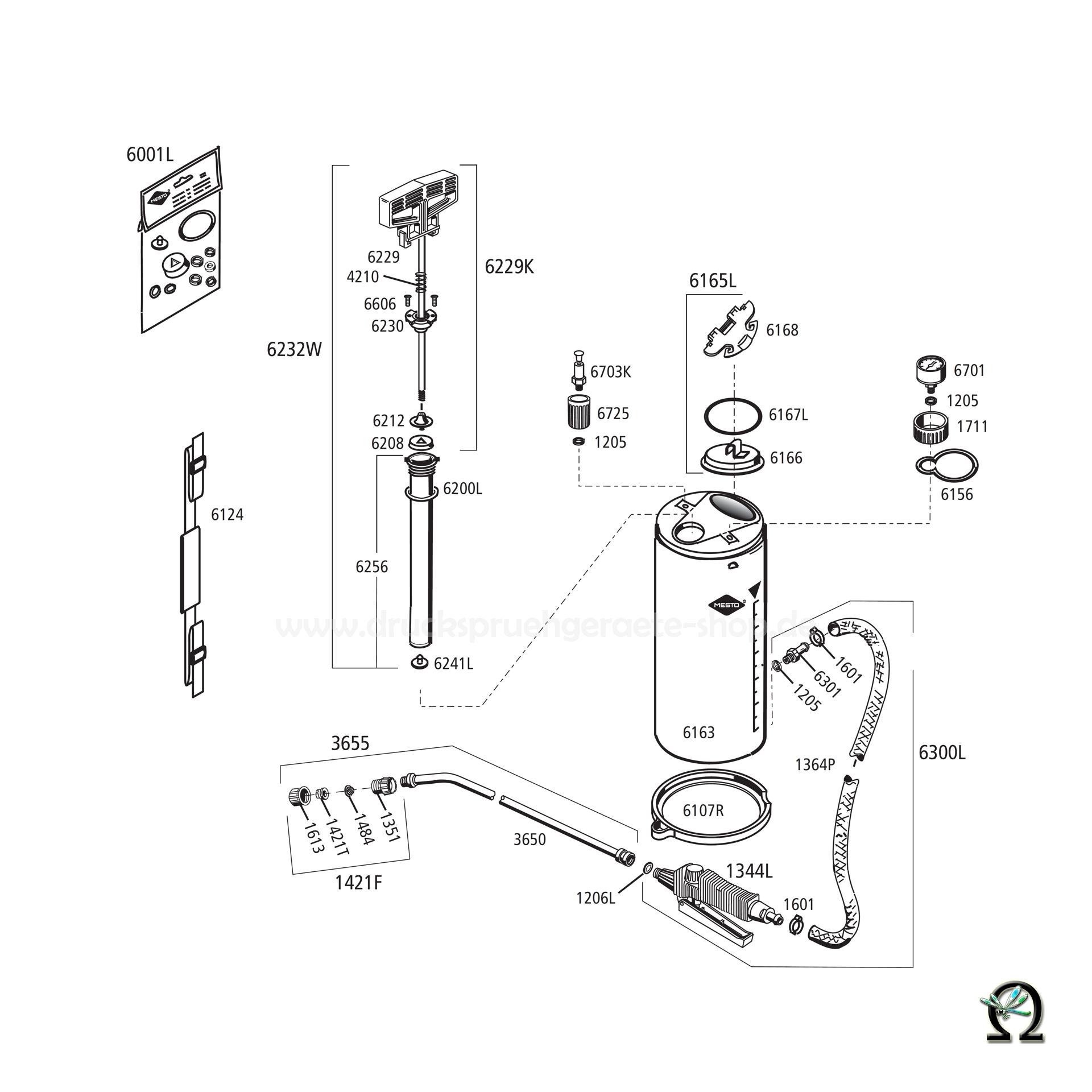 MESTO Edelstahl-Hochdrucksprühgerät 3592P RESISTENT PLUS EXTRA - 5 Liter, Zeichnung der Einzelteile