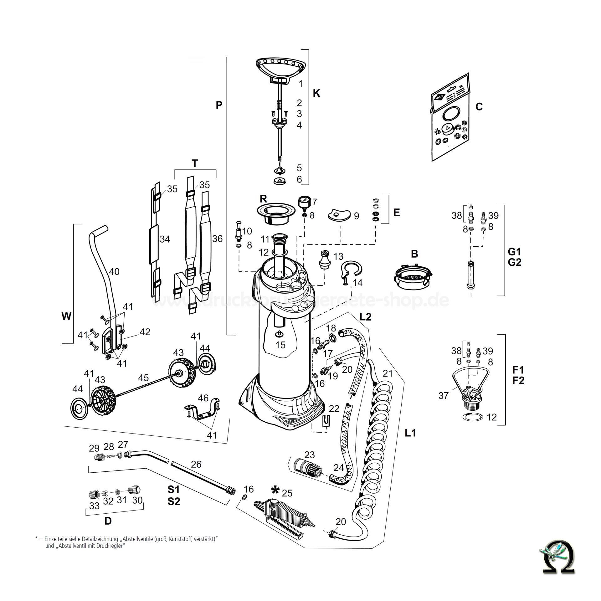 MESTO Druckwasserbehälter 3615W - 10 Liter, Zeichnung der Einzelteile