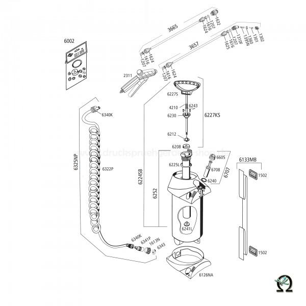 MESTO 3270, Explosionszeichnung mit Ersatzteilnummern, Mesto Kolbenmanometer 3bar 6707 NBR für PROFI und PROFI H₂O