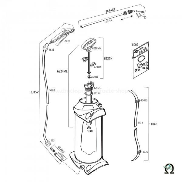 MESTO 3237 VERIS, Explosionszeichnung mit Ersatzteilnummern, MESTO Kunststoff-Spritzrohr ausziehbar 52-90 cm 3654A ohne Düse