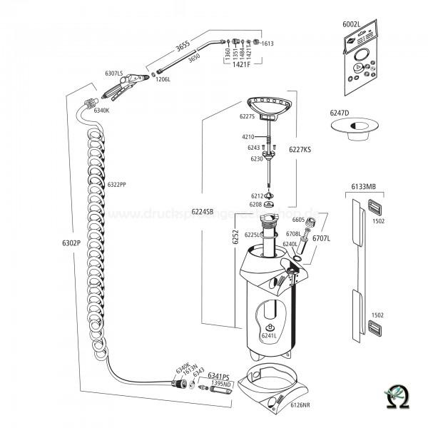 MESTO 3275P PROFI PLUS, Explosionszeichnung mit Ersatzteilnummern, MESTO Kolbenstange Stahl 6227S mit Spezialbeschichtung