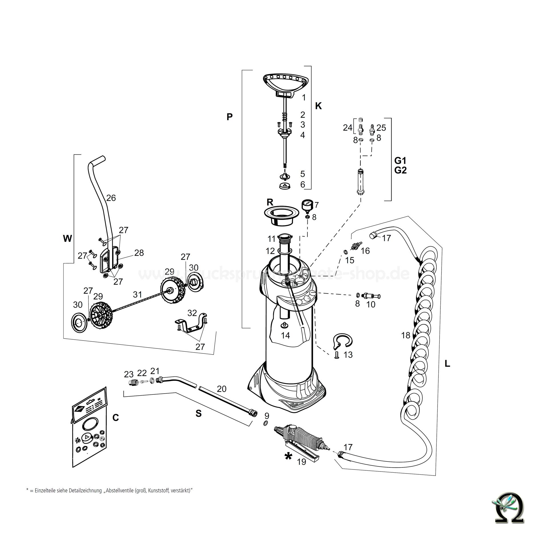 MESTO Hochdrucksprühgerät 3615XT INOX EXTREME mit Transportwagen - 10 Liter, Zeichnung der Einzelteile