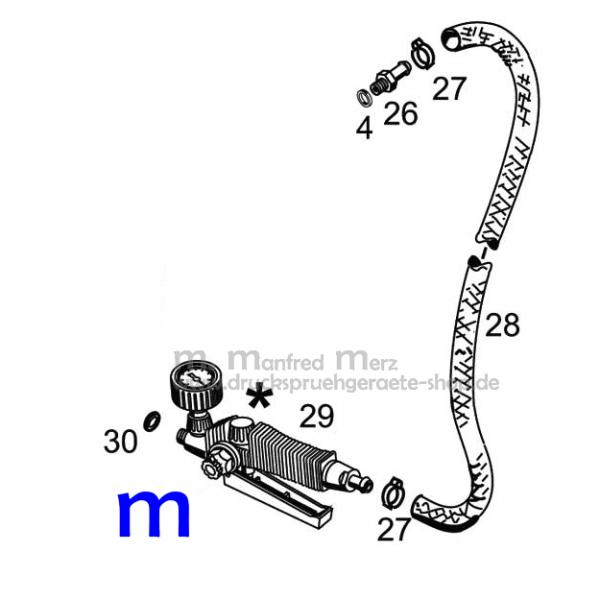 MESTO Spritzleitung mit Druckregler DOSICONTROL 1388G für die 10-Liter-Hochdrucksprühgeräte der Serien FERRUM und RESISTENT