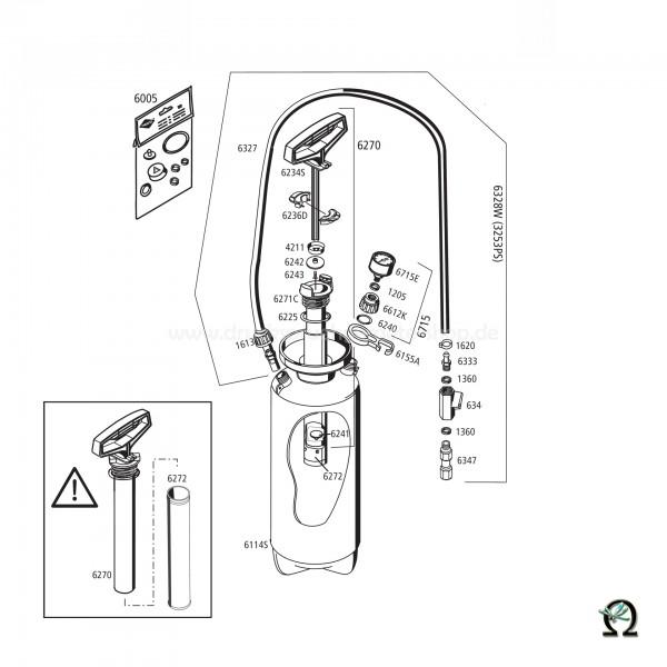 Mesto Sauggerät 3253PS mit SK-Verschraubung, Zeichnung der Einzelteile