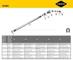 MESTO Spritzrohr 3658N, Explosionszeichnung mit Ersatzteilnummern