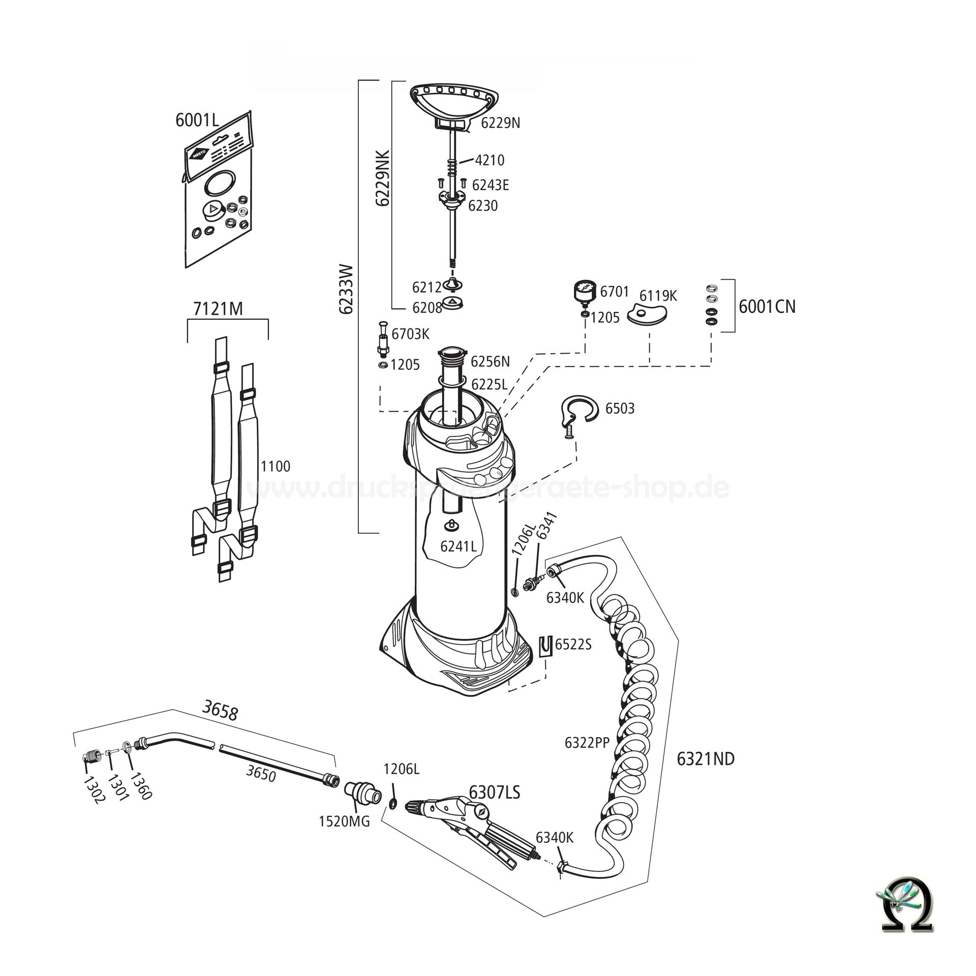 Hochdrucksprühgerät FERROX 3585G - 10 Liter, Zeichnung der Einzelteile