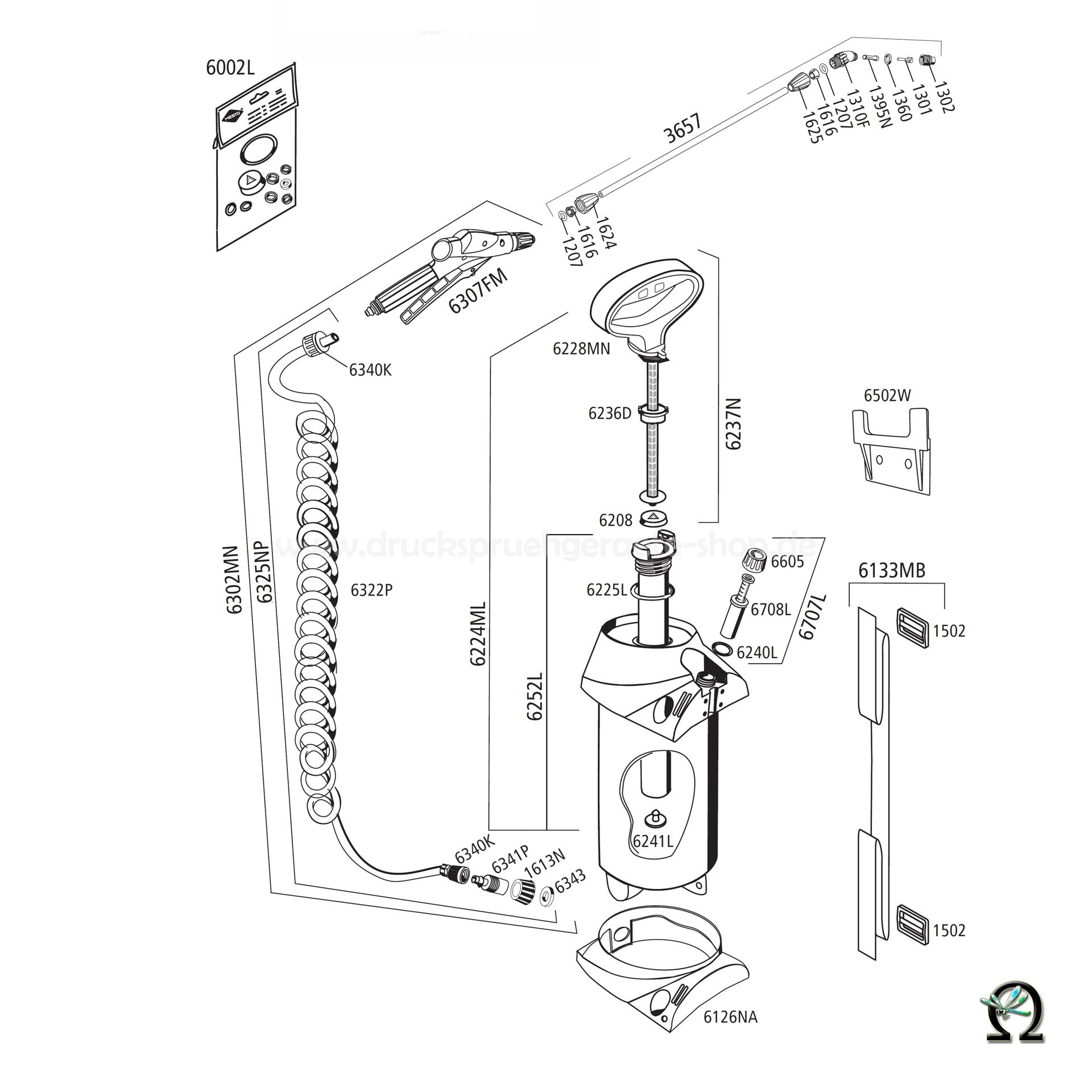 MESTO Drucksprühgerät 3275M PROFI Zeichnung der Einzelteile