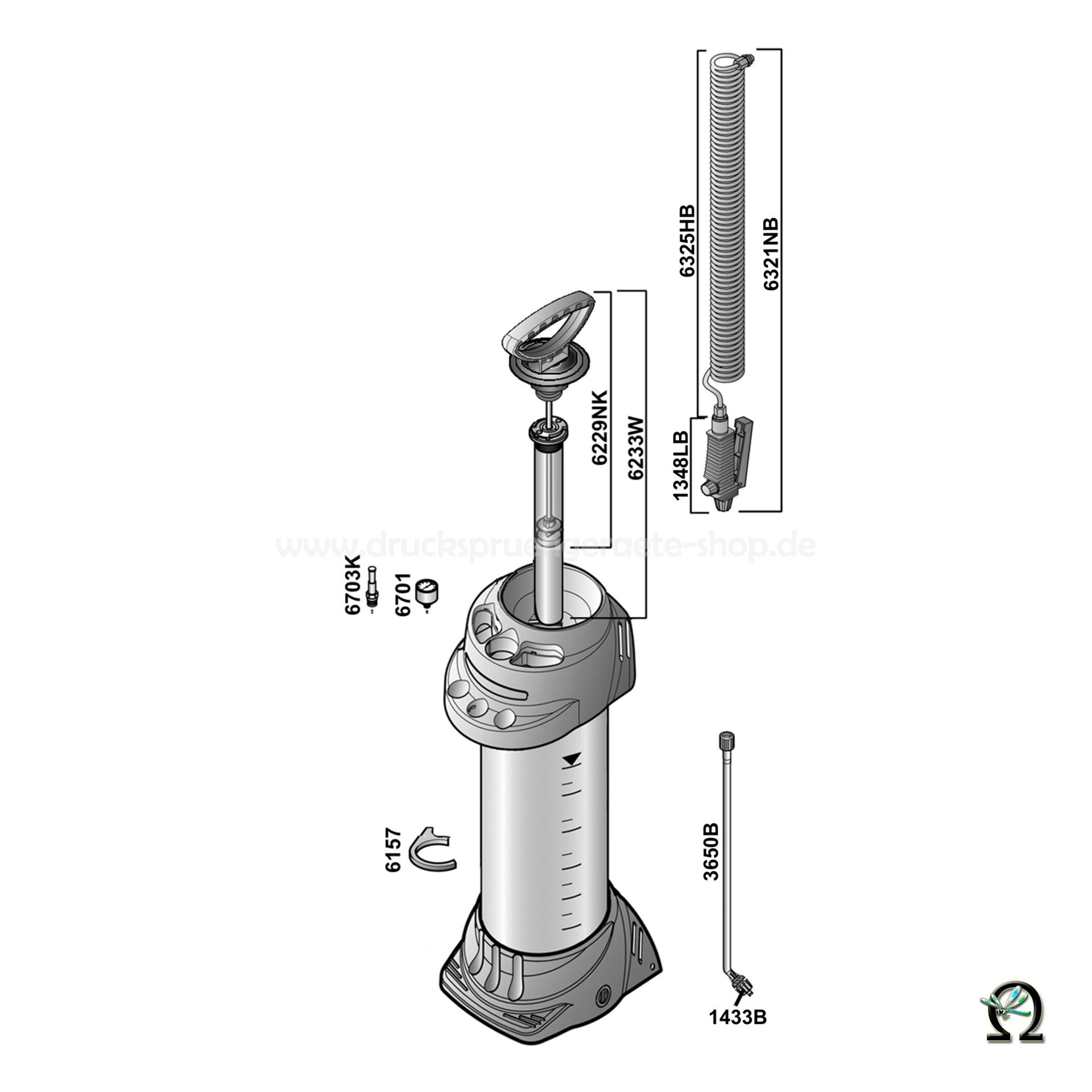 Mesto Hochdrucksprühgerät 3595FB INOX PLUS - 6 Liter, Zeichnung der Einzelteile