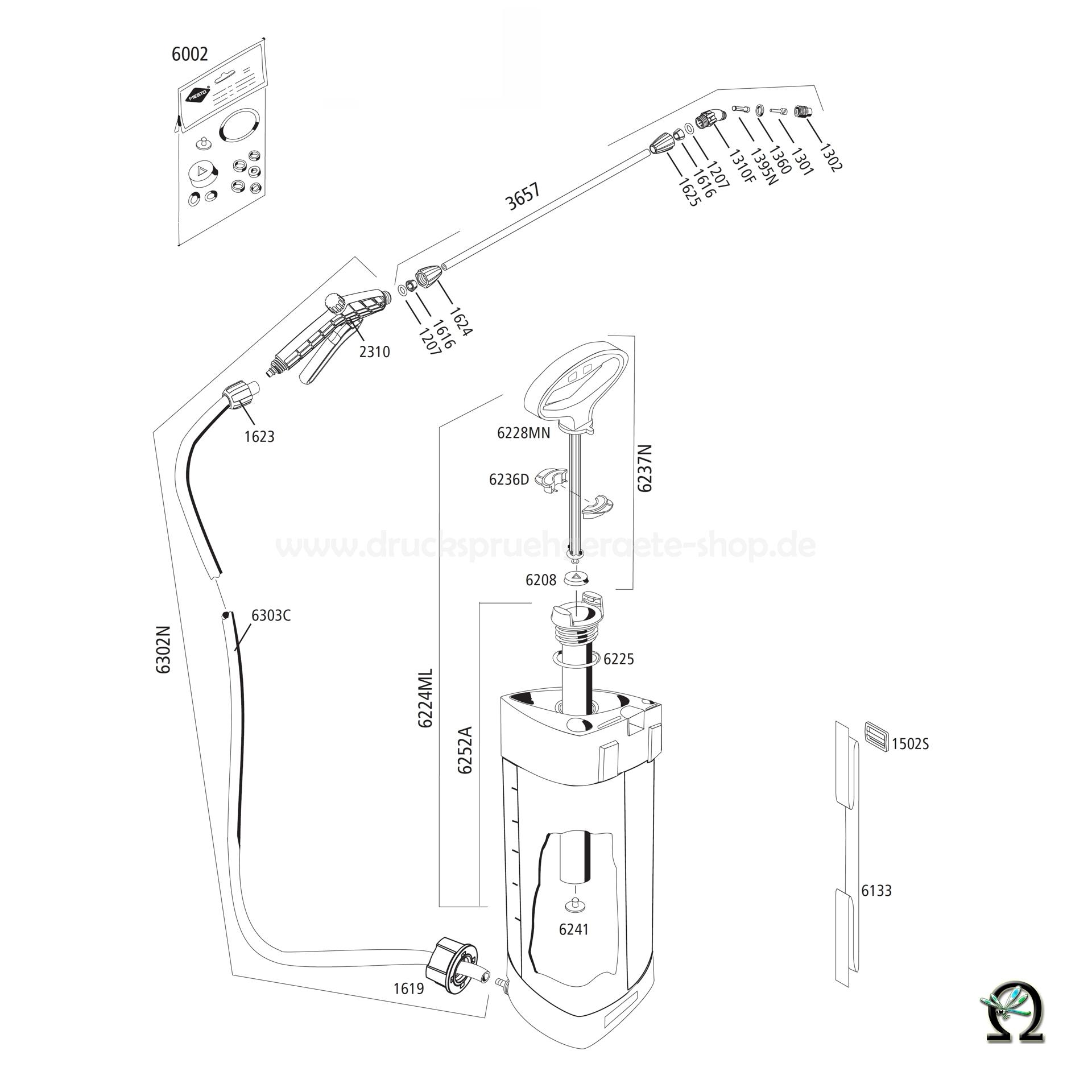 MESTO Drucksprühgerät 3232 PICO Zeichnung der Einzelteile