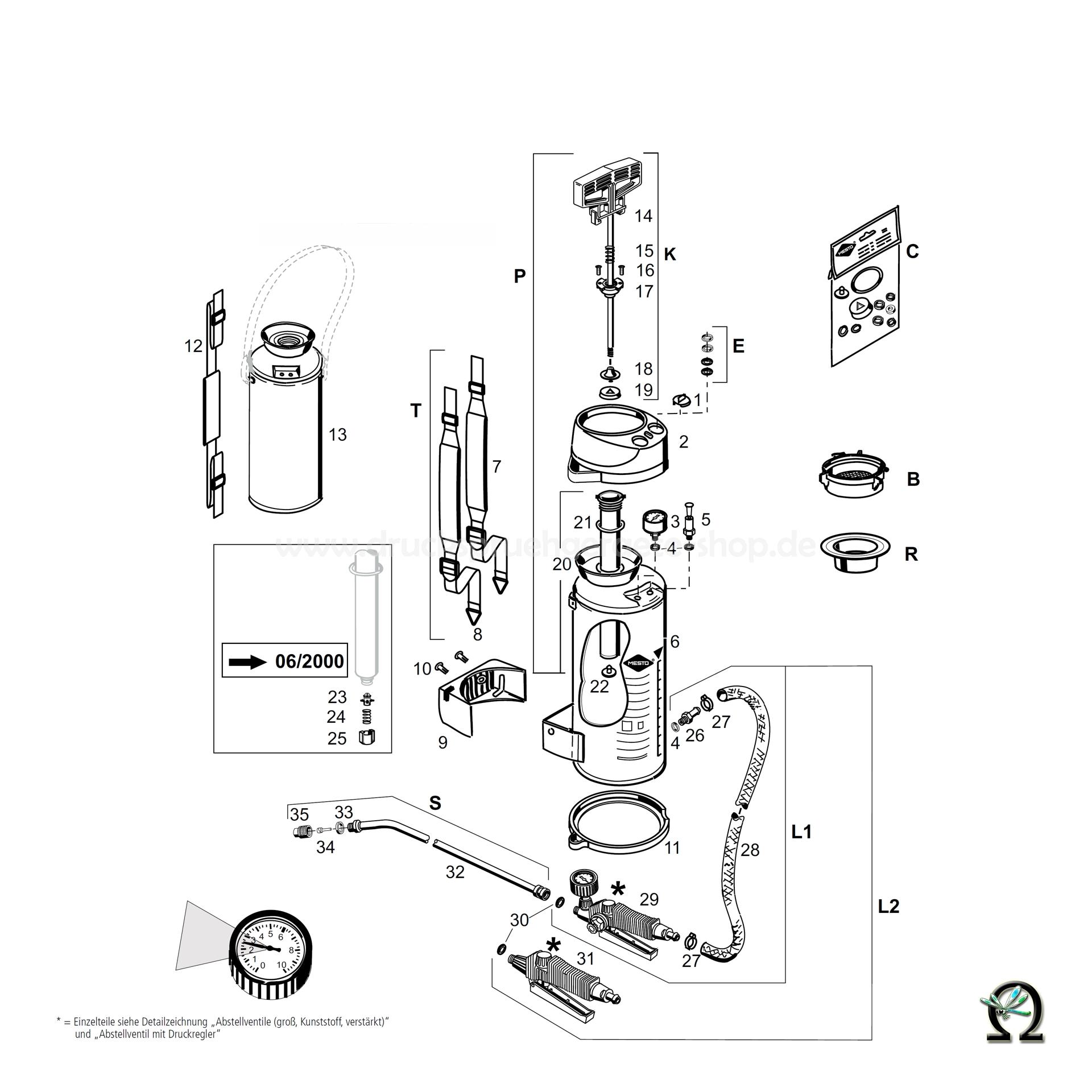 MESTO Hochdrucksprühgerät 3580 FERRUM - 10 Liter, Zeichnung der Einzelteile