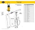 Explosionszeichnung mit Ersatzteilliste für das Drucksprühgerät Mesto PERLA 3265