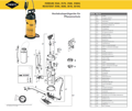 Explosionszeichnung mit Ersatzteilliste für das Drucksprühgerät Mesto FERRUM 3570