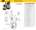 Explosionszeichnung mit Ersatzteilliste für das Hochdrucksprühgerät Mesto INOOX 3615