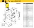 Explosionszeichnung mit Ersatzteilliste für das Drucksprühgerät Mesto PERFEKT 3537