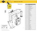 Explosionszeichnung mit Ersatzteilliste für das Drucksprühgerät Mesto REKORD 3533
